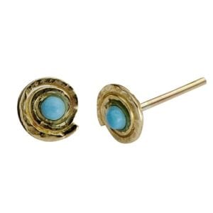 Delicate 9k gold round studs with beautiful Turquoise gems