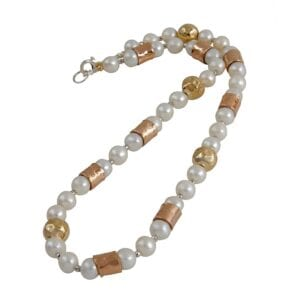 Luxuriant Pearl necklace, sterling silver 925 combined with 14k rolled gold