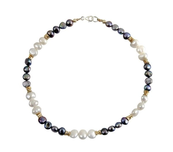 Sumptuous Pearl necklace, sterling silver combined with 14k rolled gold