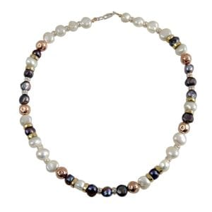 Dream Pearl necklces, 14k rolled gold yellow and red, shiny sterling, hammered componants with beautiful pearls