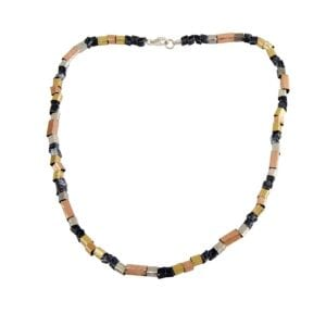 Brilliant multi colour gold and silver necklace, 14k rolled gold red and yellow, combined with sterling silver shiny and oxdised pieces.