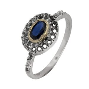 Beautiful silver ring with Sapphire corundum