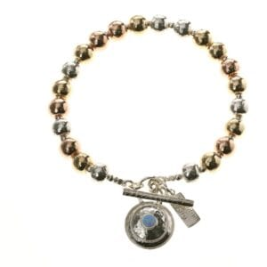 Stunning T-Bar Bracelet with Sterling Silver beads combined with 14k Rolled Gold in rose and yellow finish, with an Opalite charm droplet