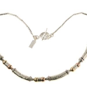 Beautiful hammered silver necklace with 14k Rolled Gold beads in rose and yellow, finished with a spiral clasp