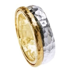 Trendy Unisex Sterling Silver ring with 14k Rolled Gold Spinner, hammered affect