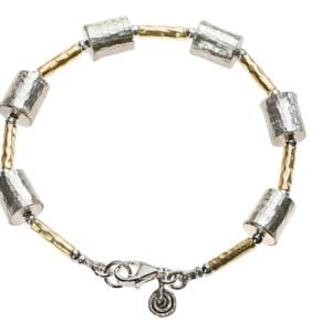Beautiful hammered sterling silver bracelet with 14k Rolled Gold
