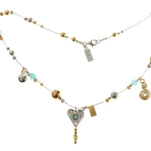 Beautiful sterling silver necklace with hammered silver and 14k rolled gold beads, with blue quartz and a heart pendant