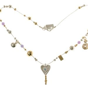 Beautiful sterling silver necklace with hammered silver and 14k rolled gold beads, with Opalite and a heart pendant