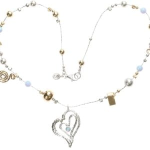 Gorgeous necklace, sterling Silver and 14k Rolled Gold with Opalite beads, hammered affect