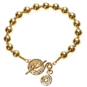 Adorable Sterling Silver 14k Rolled Gold bead bracelet with spiral T-Bar clasp