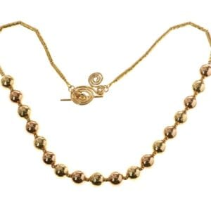 Beautiful Sterling Silver 14k Rolled Gold bead necklace in Rose and Yellow gold with spiral T-Bar clasp
