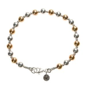 Stunning hand crafted Sterling Silver and 14k Rolled Gold bead bracelet with spiral charm