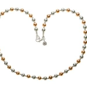 Stunning hand crafted Sterling Silver and 14k Rolled Gold bead necklace with spiral charm
