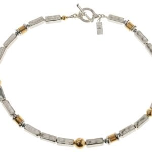 Gorgeous hammered handmade Sterling Silver Necklace combined with 14k Rolled Gold