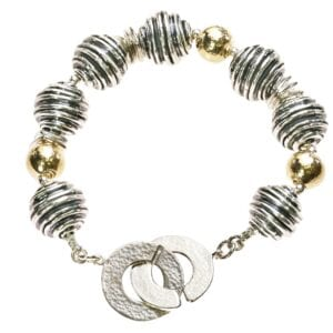 Gorgeous chunky Sterling Silver and 14k Rolled Gold bracelet with double loop clasp