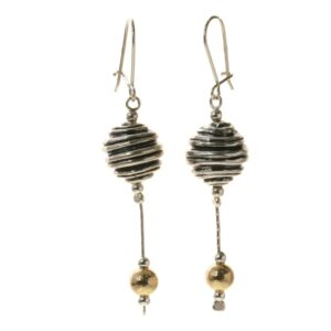 Lovely long Sterling Silver carved ball detail drop earrings with a 14k Rolled Gold bead