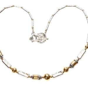Breathtaking hammered finish Sterling Silver and 14k Rolled Gold necklace with T-Bar clasp