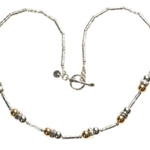 Contemporary handmade Sterling Silver and 14k Rolled Gold necklace with T-Bar clasp