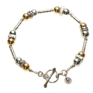 Glamorous Sterling Silver and 14k Rolled Gold bracelet with T-Bar clasp and spiral charm