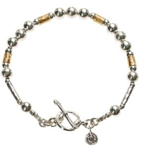 Exquisite Sterling Silver and 14k Rolled Gold bracelet with T-Bar clasp and spiral charm