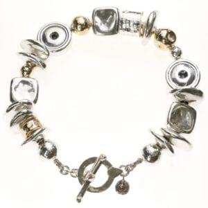 Funky handmade Sterling Silver and 14k Rolled Gold Bracelet