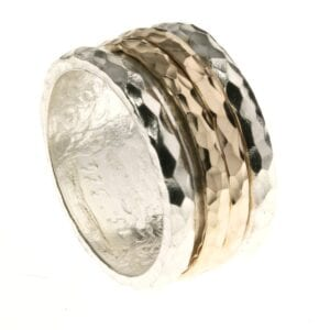 Trendy Unisex Sterling Silver ring with two 14k Rolled Gold Spinning rings