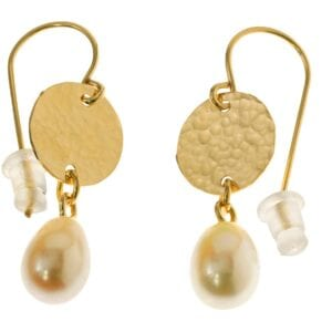 Stunning hammered 14k Rolled Gold disc earrings with a droplet of freshwater pearl