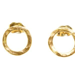 Cute 14k Rolled Gold on Sterling Silver hammered finish circular stud earrings
