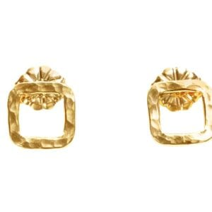 Cute 14k Rolled Gold on Sterling Silver hammered finish square stud earrings