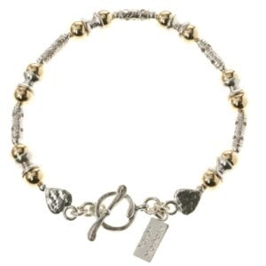 Beautiful Sterling Silver bracelet with 14k Rolled Gold Beads and heart detail