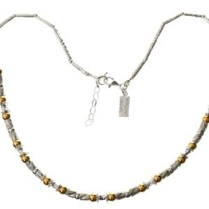 Wonderful Sterling Silver hand finished necklace with 14k Rolled Gold beading