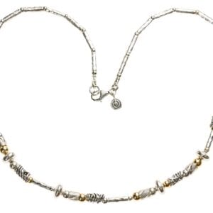Gorgeous Sterling Silver and 14k Rolled Gold hammered finish necklace