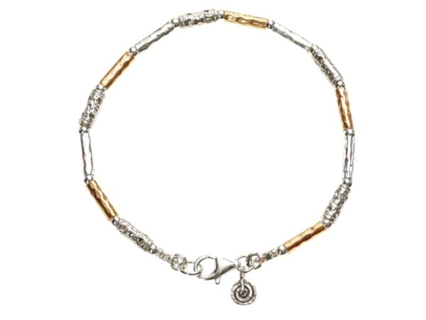 Lovely multi textured Sterling Silver and 14k Rolled Gold bracelet