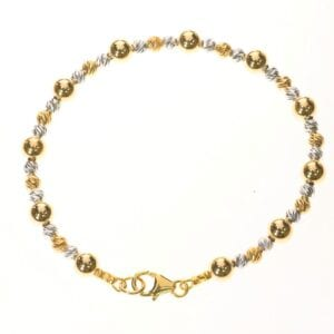 Pretty little bracelet of Sterling Silver and 14k Rolled Gold beads