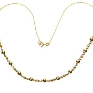 Beautiful hammered silver necklace with 14k Rolled Gold beads