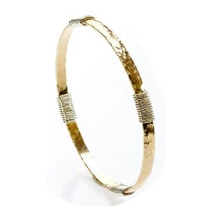 Trendy hammered 14 rolled gold bangle with sterling silver wrap