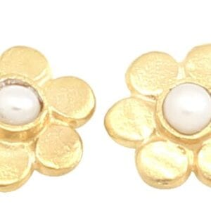 Cute Sterling Silver with 24k Gold Plate flower stud earrings with Pearl centres