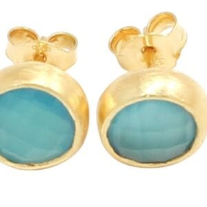 Glamorous Sterling Silver with 24k Gold Plate stud earrings set with faceted Aquamarine