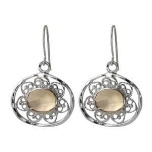 Sterling Silver open work earrings set with 9k Gold