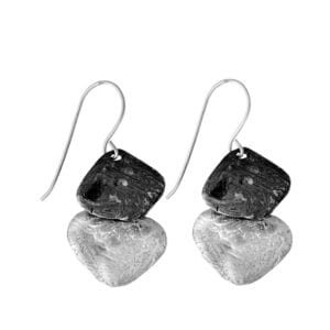 Trendy Sterling Silver Drop Earrings with both shiny and oxidised finish