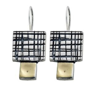 Stunning Hand Carved Sterling Silver and 9k Gold Earrings
