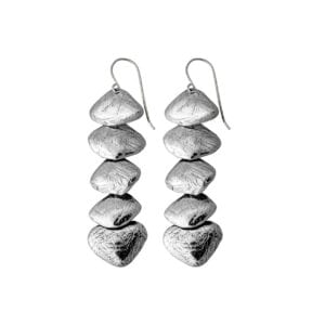 Long hand finished five piece Sterling Silver Drop Earrings