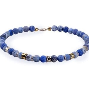Pretty Sterling Silver necklace with Blue Agate and 14k Rolled Gold