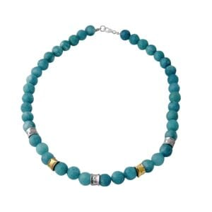 Attractive Sterling Silver and 14k Rolled Gold Turquoise bead necklace