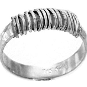 Contemporary handmade sterling silver ring with hammered finish and spiral wrap