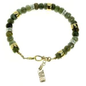 Pretty labradorite sterling silver and 14k rolled gold gem bracelet