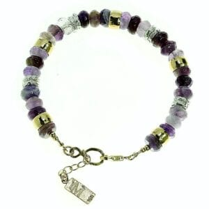 Pretty amethyst sterling silver and 14k rolled gold gem bracelet