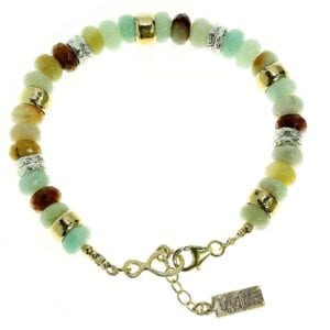Pretty amazonite sterling silver and 14k rolled gold gem bracelet