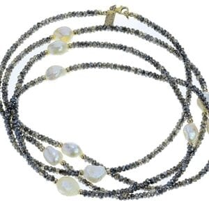 Beautiful long labradorite and Baroque pearl necklace-0