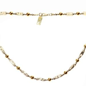 Gorgeous handmade sterling silver necklace with 14k rolled gold beads